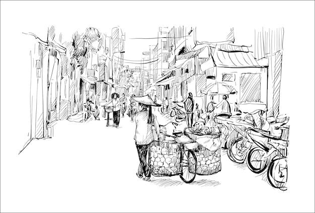 Boceto de paisaje urbano en hanoi, vietnam, mujer vendedora de plátanos en bicicleta caminando por la calle