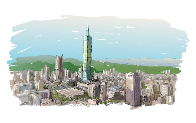 Boceto de paisaje urbano mostrar paisaje urbano en taiwán, edificio de taipei, ilustración