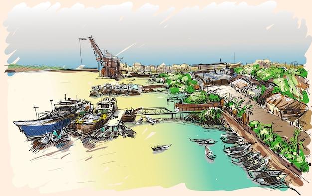 Boceto del paisaje urbano de yangon, horizonte de myanmar, muestre los muelles en pazundaung creek, ilustración de dibujo a mano alzada