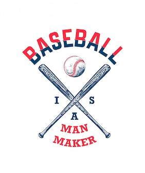Boceto de pelota de béisbol y bate con tipografía.