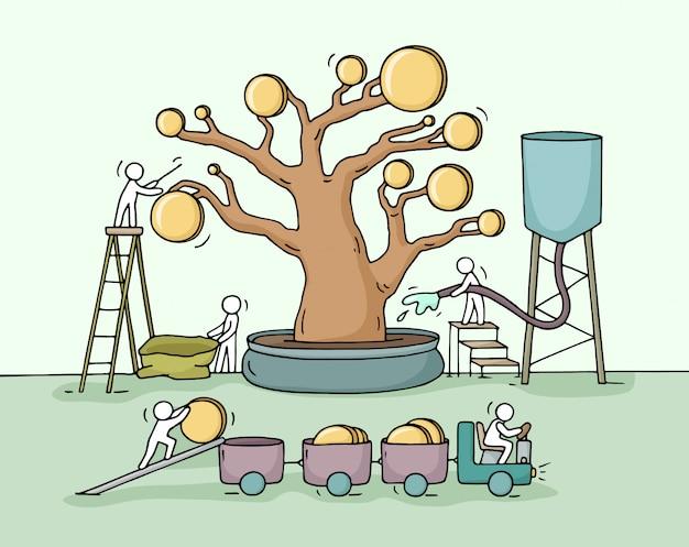 Boceto de pequeñas personas que trabajan cosechan un árbol de dinero con monedas de oro.
