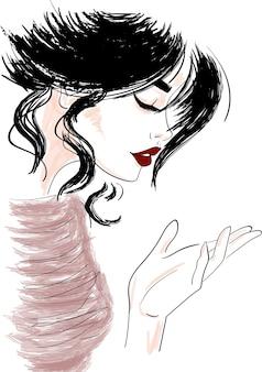 Boceto de perfil de mujer mirando la mano.