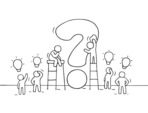 Boceto de personas pequeñas trabajadoras con grandes preguntas e ideas de lámparas