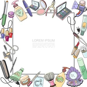 Boceto de plantilla de productos cosméticos con marco para ilustración de texto