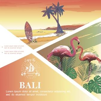 Boceto de plantilla de vacaciones de bali con flamencos monstera y hojas de palmera paisaje de playa tropical