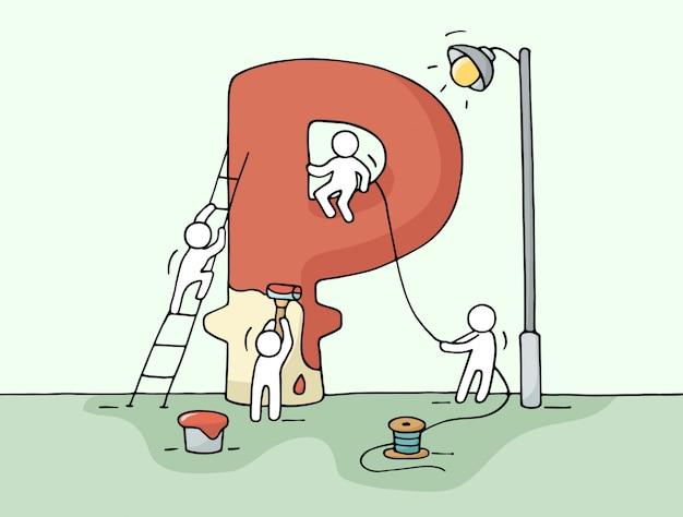 Boceto de signo rublo con pequeñas personas que trabajan.