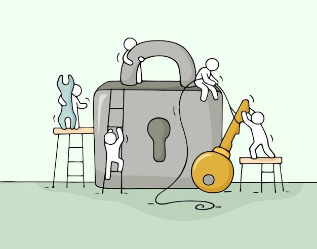 Boceto de trabajar personas con cerradura, trabajo en equipo.