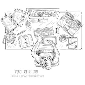Boceto de trabajo de diseñador