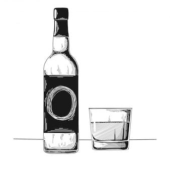 Boceto de vino dibujado a mano
