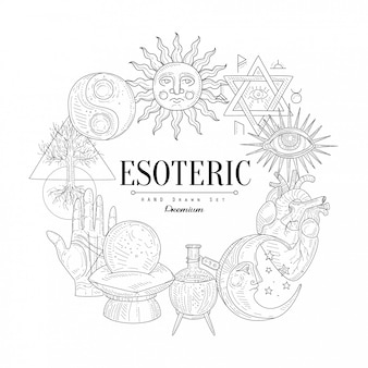 Boceto vintage colección esotérica