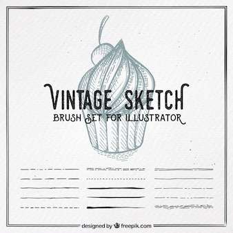 Boceto vintage, conjunto de pinceles para illustrator