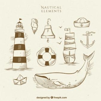 Bocetos de accesorios de navegación con una ballena