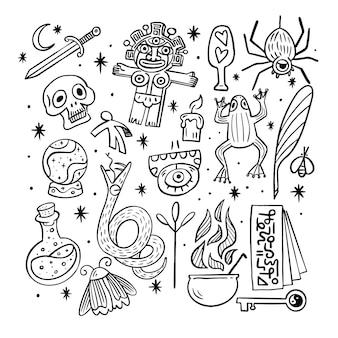 Bocetos en blanco y negro de elementos esotéricos