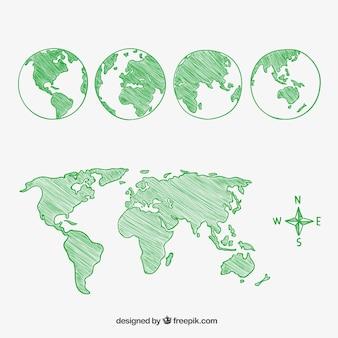 Bocetos de la bola del mundo y continentes
