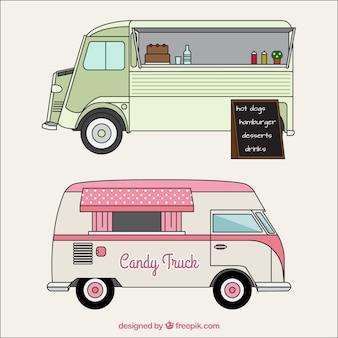 Bocetos de camioneta de comida en estilo vintage