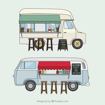 Bocetos de camionetas de comida con taburetes