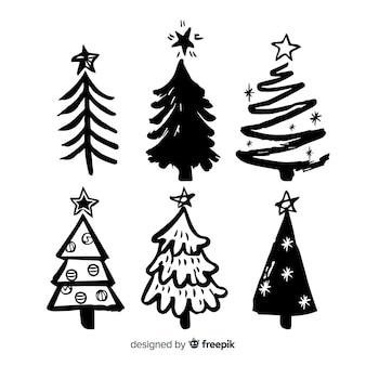 Bocetos de colección de árboles de navidad