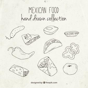 Bocetos de comida mexicana deliciosa