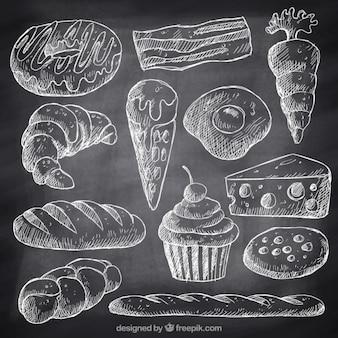 Bocetos de comida rápida y postres con tiza