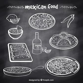 Bocetos de comida típica mexicana en estilo pizarra
