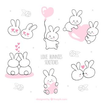 Bocetos de conejitos amorosos