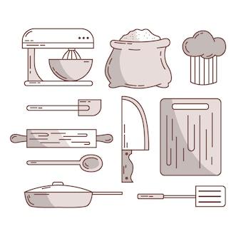 Bocetos de cubiertos y accesorios de cocina.