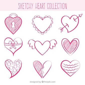 Bocetos de corazones decorativos