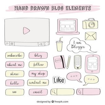 Bocetos de elementos de blog