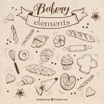 Bocetos de elementos de panadería con utensilios