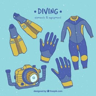 Bocetos de equipamiento de submarinismo