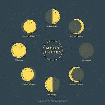 Bocetos de fases lunares