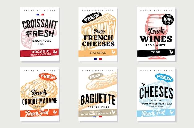 Bocetos de folletos de comida francesa