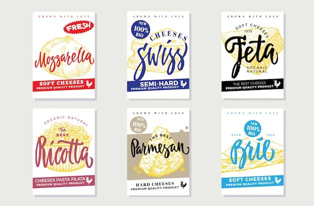 Bocetos de folletos de queso natural