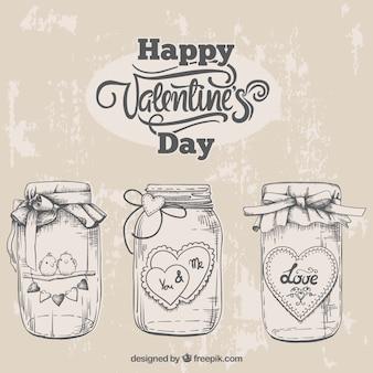 Bocetos de frascos de valentín