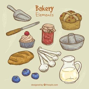 Bocetos de herramientas de cocina y productos de panadería