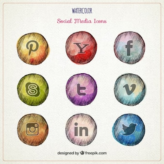 Bocetos de iconos de redes sociales en acuarela