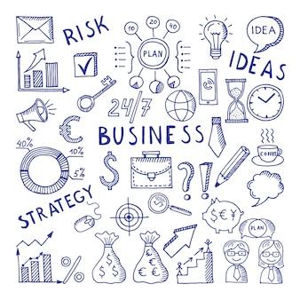 Bocetos de ilustraciones en el tema de negocios.