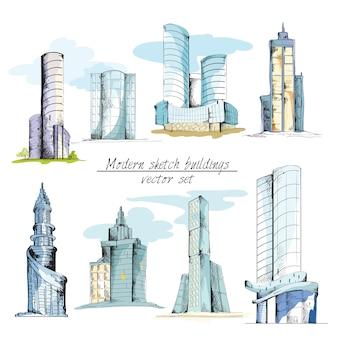 Bocetos modernos edificios de colores