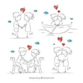 Bocetos de pareja romántica enamorada