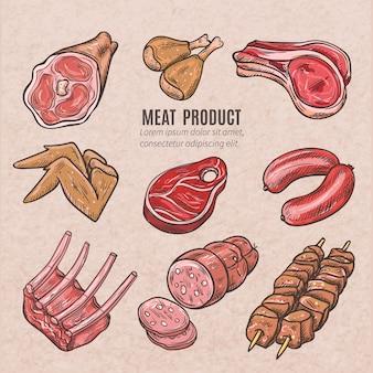 Bocetos de productos cárnicos en estilo vintage con pinchos, costillas de cerdo, filetes de alitas de pollo