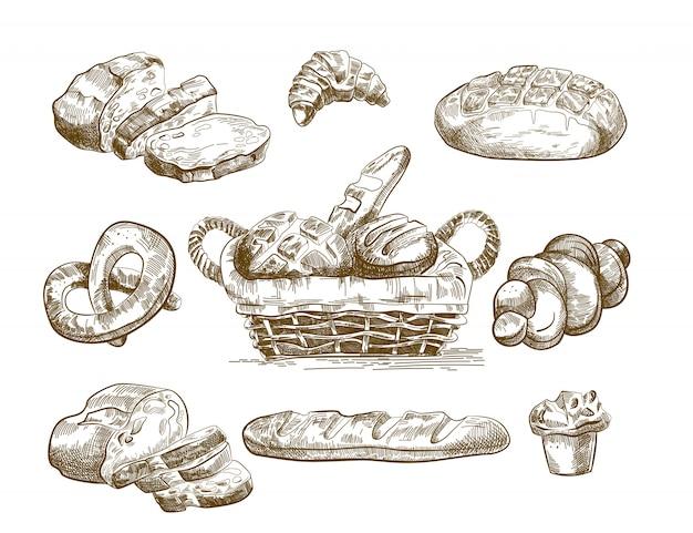 Bocetos de productos horneados dibujados a mano