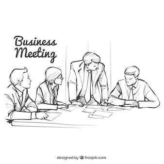 Bocetos de reunión de negocios