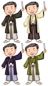 Bocetos simples de hombres de asia