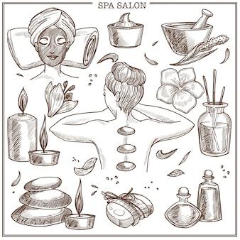 Bocetos de tratamientos de salón spa para el cuidado de la piel de la mujer o el diseño del centro de belleza