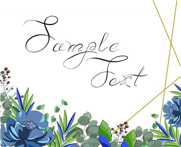 Boda azul estilo floral doble invitación.