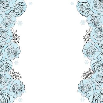 Boda cumpleaños marco floral fondo de rosa azul