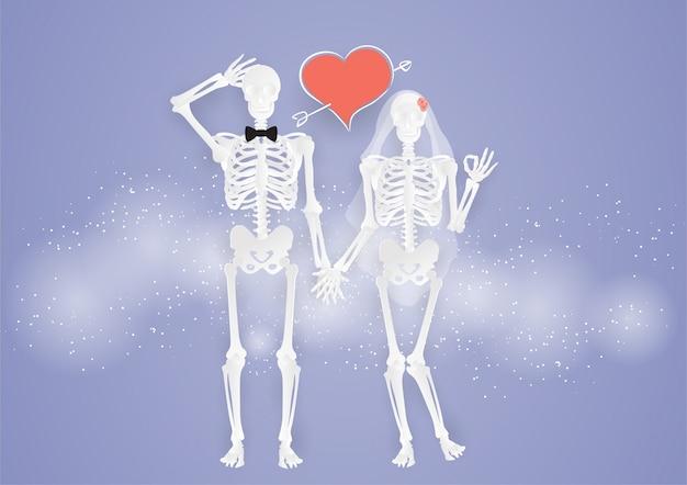Boda y el día de san valentín pareja amor de hueso