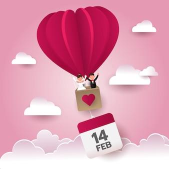 Boda feliz de los pares del día de tarjeta del día de san valentín en el globo de aire en el cielo con el icono del calendario, estación del amor