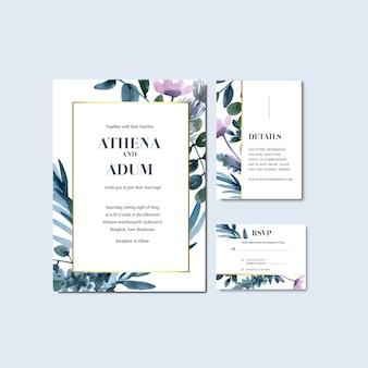 Boda feliz tarjeta floral de la invitación del jardín de la boda boda, detalle del rsvp.