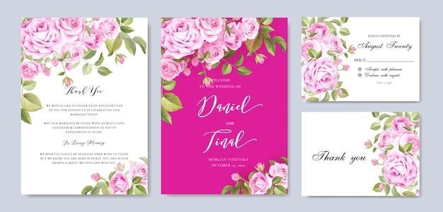 Boda floral elegante y plantilla de tarjeta de invitación